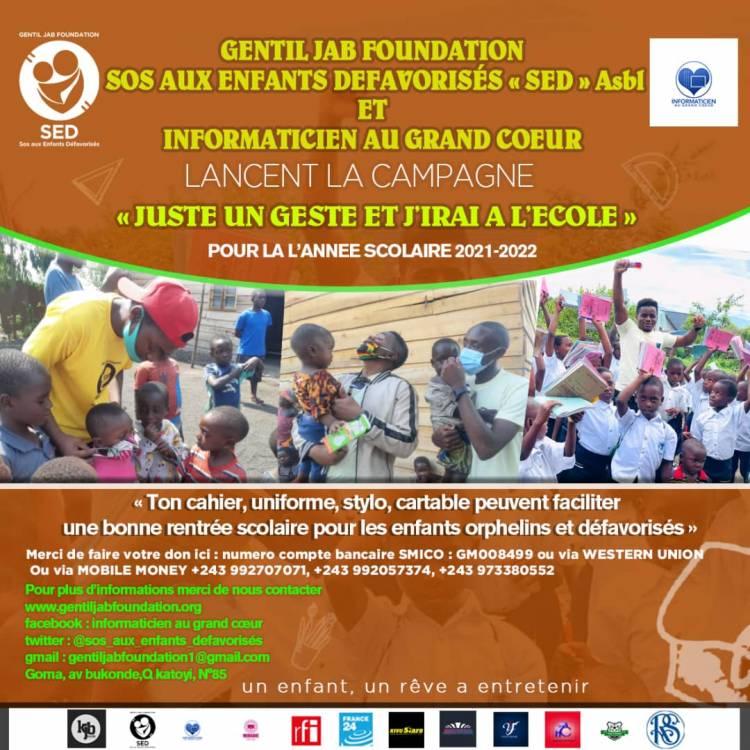 Gentil Jab Foundation et l'asbl Informaticien au grand cœur soutiennent les vulnérables pour la bonne ouverture de l'année scolaire