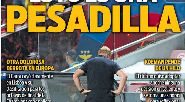 Les Unes des journaux espagnols après l'humiliation du Barça