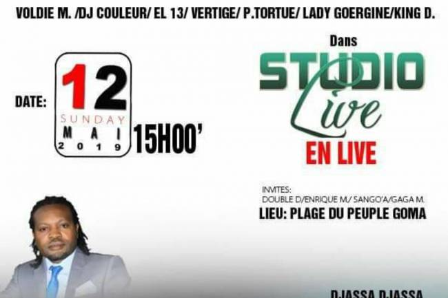 Studio Live en Live à la plage du peuple de Goma, un autre défi de Jc Kalem's !